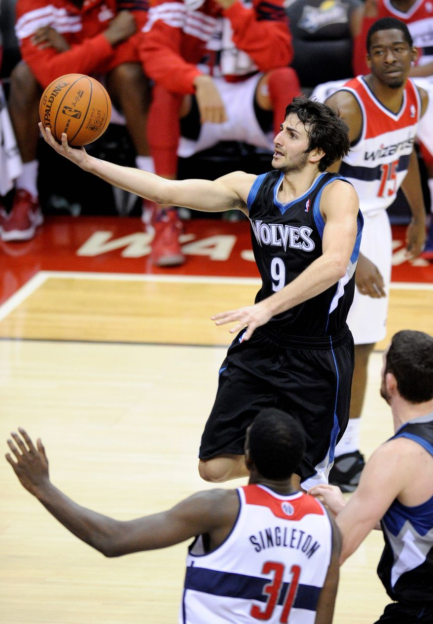 Point guard Ricky Rubio totaled 13 points and 14 assists in the Timberwolves'  93-72 win Sunday. The 0-8 Wizards are the NBA's only winless team. (Associated Press)