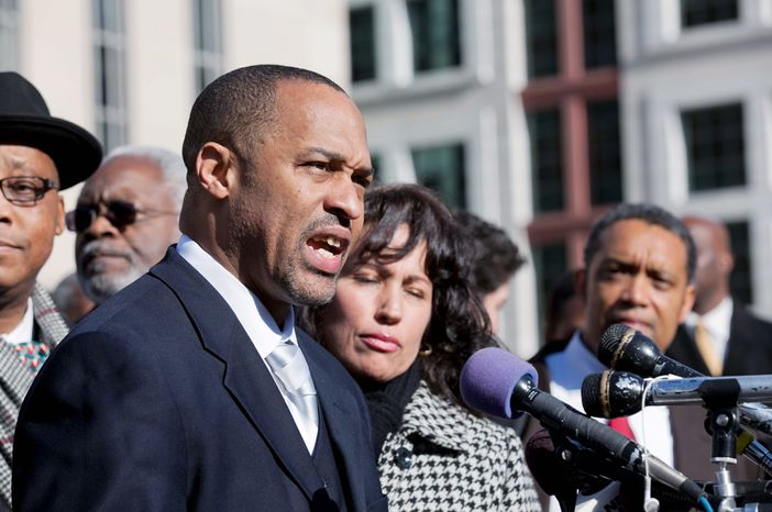 Embattled D.C. Council member Harry Thomas Jr., 51, speaks to the press, where he pled guilty before District Judge John D. Bates in U.S. District Court for the District, in Washington D.C., to stealing $353,000 from youth baseball programs from April 2007 to February 2009 and failing to report a total of $346,00 in additional income on three successive tax returns, Friday, January 6, 2012. It was the first time a sitting D.C. council member has been charged with a felony. Mr. Thomas resigned from office on Thursday Evening. (Andrew S. Geraci/The Washington Times)