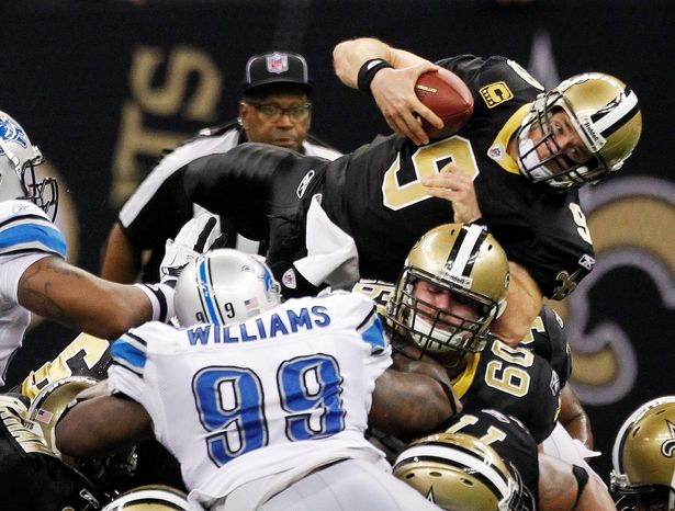 Quarterback Drew Brees led the Saints to touchdowns on five consecutive second-half possessions in Saturday night's 45-28 victory over the Lions. (Associated