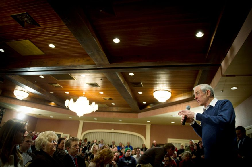 With two days before the nation's first presidential primary, Republican presidential candidate Ron Paul speaks to a crowd at Church Landing at Mill Falls in Meredith, N.H., Sunday, January 8, 2012. (Rod Lamkey Jr/ The Washington Times)
