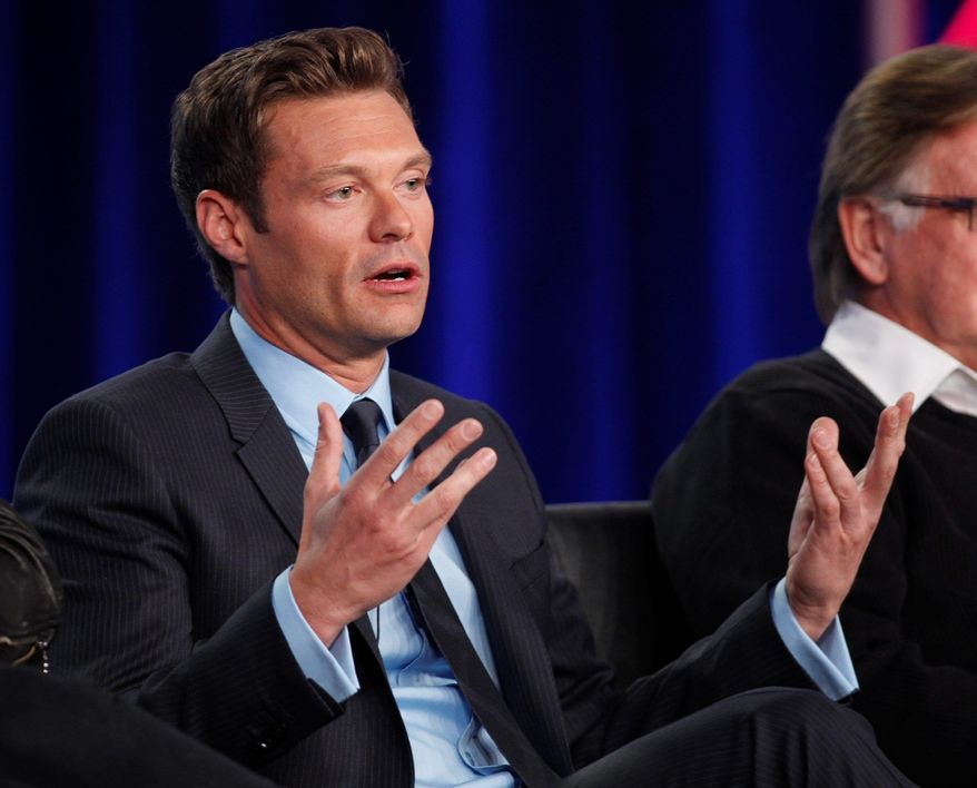 "Ryan Seacrest, talking Sunday at Fox Broadcasting's winter press tour, is nearing the end of his ""American Idol"" contract, but he and Fox favor his continuation. (Associated Press)"