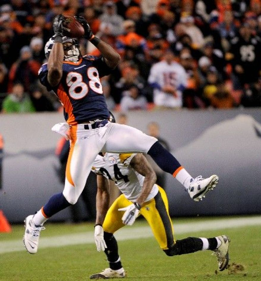 Denver Broncos wide receiver Demaryius Thomas catches a pass in the fourth quarter of a wild-card playoff game against the Pittsburgh Steelers on Sunday, Jan. 8, 2012, in Denver. (AP Photo/The Denver Post, Joe Amon)