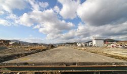 The cleaned off platform of the South Kesennuma railway station remains in the midst of the obliterated city of Kesennuma, more than nine months after the March 11 tsunami. (Christopher Johnson/Special to The Washington Times)