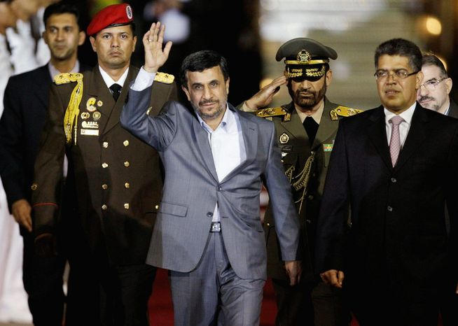 Iranian President Mahmoud Ahmadinejad arrives Sunday at the international airport in Maiquetia, Venezuela. Mr. Ahmadinejad also plans to visit Nicaragua, Cuba, Ecuador and possibly Guatemala. (Associated Press)