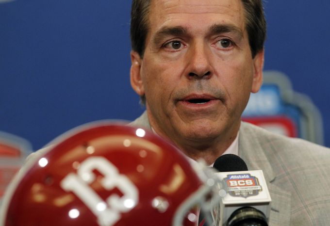 Alabama head coach Nick Saban speaks during a news conferemce for the BCS National Championship game Sunday, Jan. 8, 2012, in Ne
