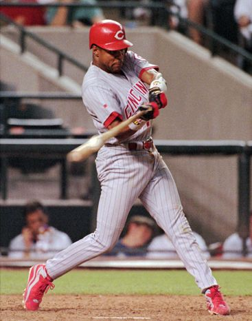 FILE - In this June 12, 1998, file photo, Cincinnati Reds' Barry Larkin connects on a solo home run in the eighth inning against the Arizona Diamondbacks in Phoenix. Larkin is the leading candidate to gain election to baseball Hall of Fame when voting by the Baseball Writers' Association of America is announced. (AP Photo/Ken Levine, File)