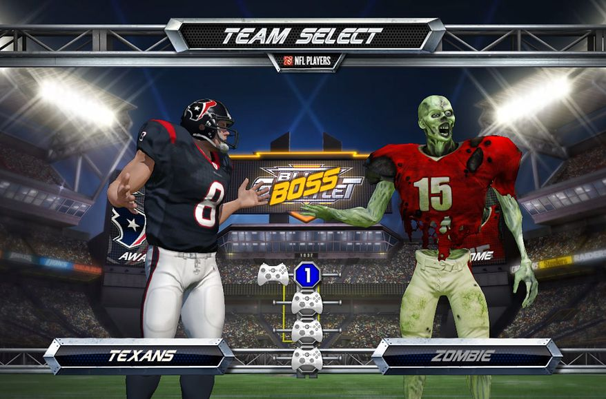 Challenge a team of zombies in the Xbox Live video game NFL Blitz.