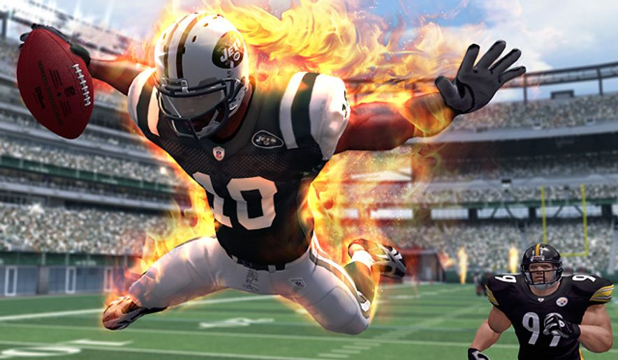 It's a fiery touchdown run in the Xbox Live video game NFL Blitz.