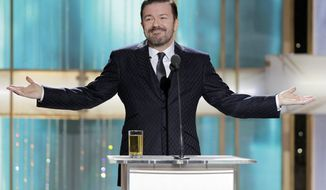 "Ricky Gervais' jabs while hosting last year's Golden Globes show were termed ""hugely mean-spirited"" by actor Robert Downey Jr. Expect more of the same on Sunday's telecast. (NBC via Associated Press)"
