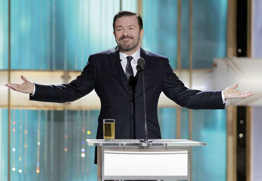 """Ricky Gervais' jabs while hosting last year's Golden Globes show were termed """"hugely mean-spirited"""" by actor Robert Downey Jr. Expect more of the same on Sunday's telecast. (NBC via Associated Press)"""