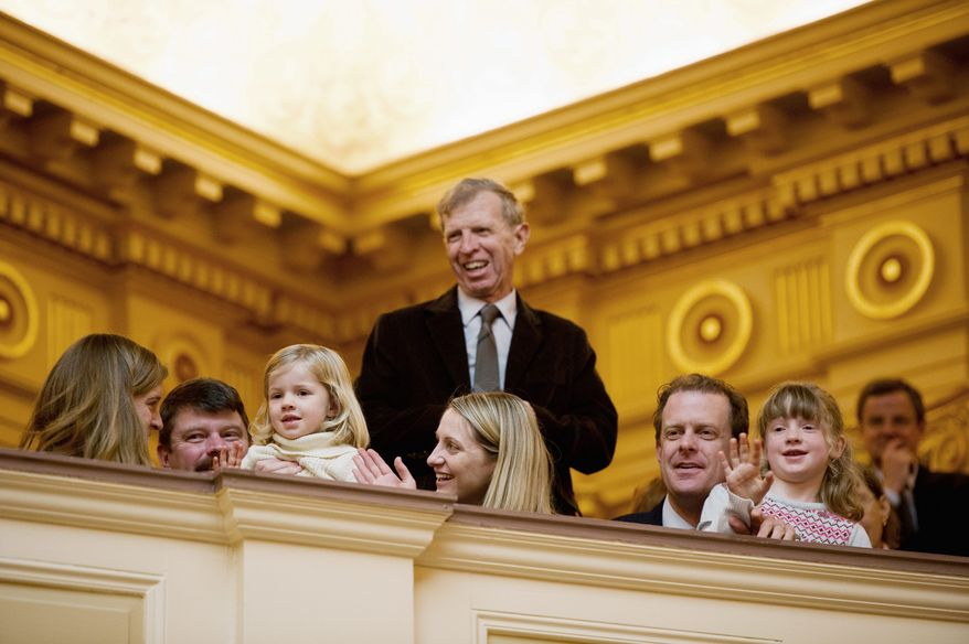 Families of Virginia state senators watch the goings-on in the Capitol before the start Wednesday of the 60-day General Assembly session. Republicans, as promised, took control of legislative matters with the help of Lt. Gov. Bill Bolling's tie-breaking vote. (Andrew Harnik/The Washington Times)