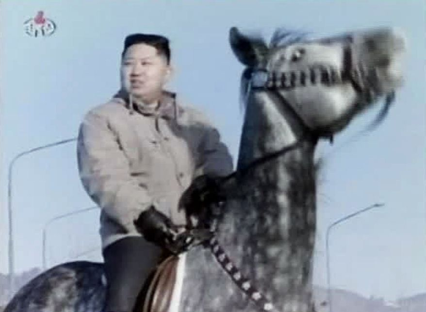 ** FILE ** In this undated file image made from KRT video, North Korea's new leader Kim Jong Un rides a horse at an undisclosed place in North Korea, aired Sunday, Jan. 8, 2012. (AP Photo/KRT via APTN, File)
