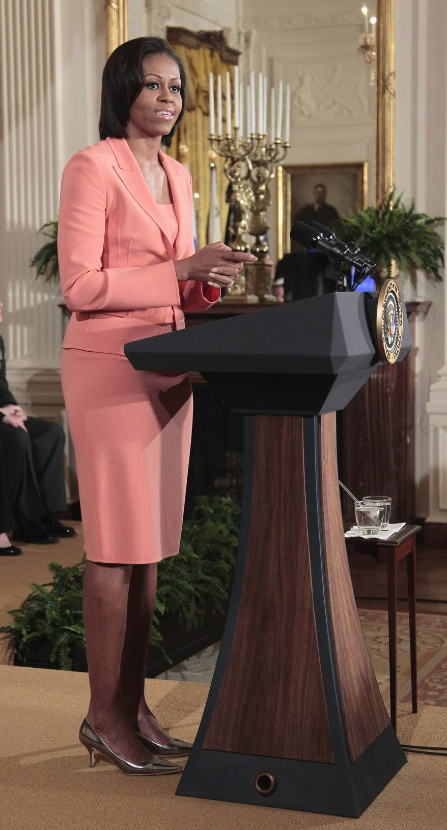 ** FILE ** First lady Michelle Obama delivers remarks in the East Room of the White House in this April 12, 2011, file photo, to launch Joining Forces, the national initiative to support and honor America's service members and their families. Mrs. Obama is expected to announce the commitment from more than 100 medical schools during an appearance Wednesday, Jan. 11, 2012, at Virginia Commonwealth University in Richmond. (AP Photo/Pablo Martinez Monsivais, File)