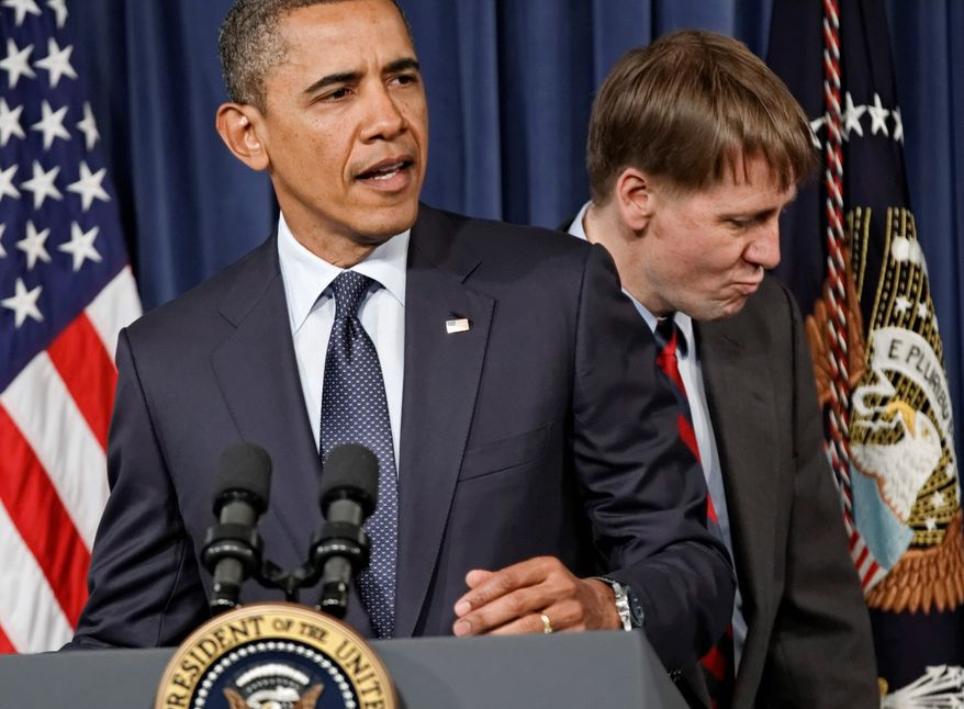President Obama made a recess appointment to enable Richard Cordray (behind him) to begin serving as director of the Consumer Financial Protection Bureau. Mr. Obama made three other recess appointments. (Associated Press)