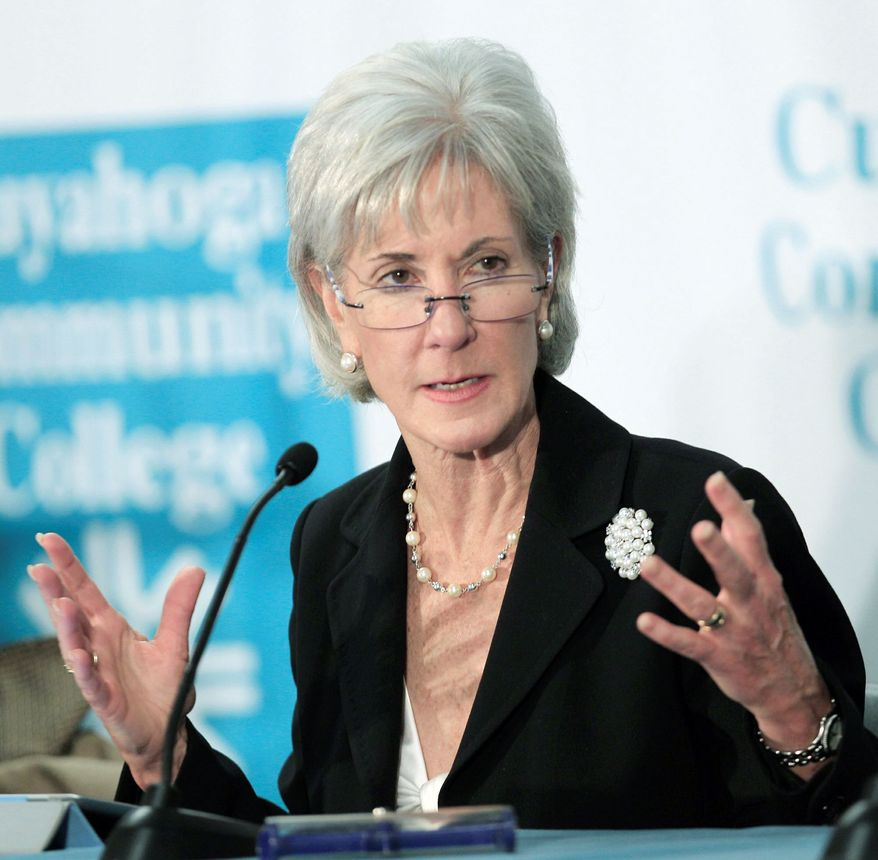 """""""It's time for Trustmark to immediately rescind the rates, issue refunds to consumers or publicly explain their refusal to do so,"""" HHS Secretary Kathleen Sebelius said of the company that refused to follow new federal regulations. (Associated Press)"""