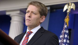White House spokesman Jay Carney speaks Jan. 12, 2012, during the daily briefing at the White House. (Associated Press)