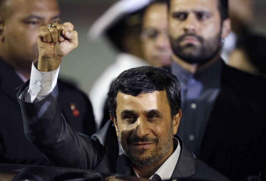 Iran's President Mahmoud Ahmadinejad arrives Jan. 8, 2012, at the international airport in Maiquetia, Venezuela. Ahmadinejad visited Venezuela as part of his tour aimed at showing off relationships with some of Tehran's close allies, while tensions grow over the country's threats to block oil shipments in retaliation for tighter U.S. sanctions. (Associated Press)