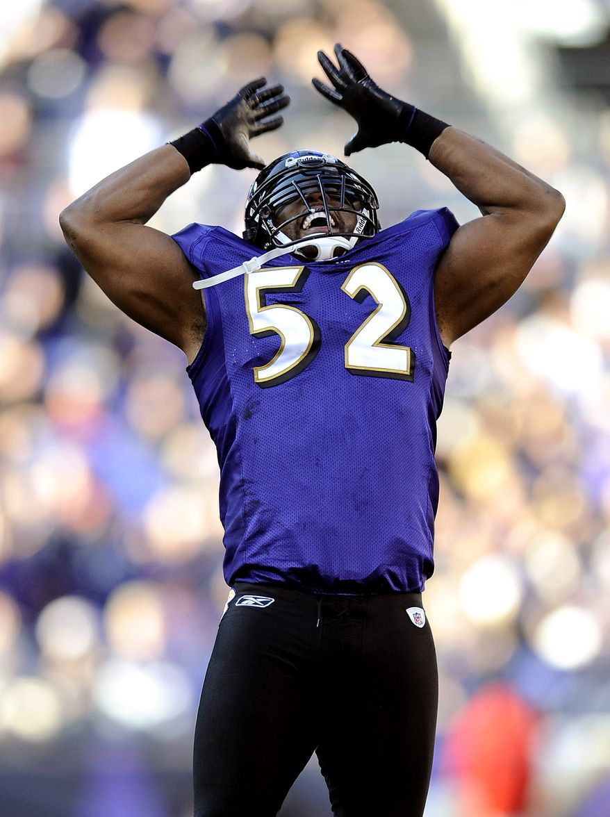 FILE - In this Dec. 24, 2011, file photo, Baltimore Ravens inside linebacker Ray Lewis rallies the crowd in the first half of an NFL football game against the Cleveland Browns in Baltimore. Houston Texans' Arian Foster was in his first season as a starter in 2010 when the Texans hosted the Ravens, and Ravens linebacker Ray Lewis grabbed the running back after a play. Lewis had already become a fan and told Foster: 'I love the way you play this game.' Since then the pair have become friends off the field and shared their mutual admiration for each other this week as Houston is scheduled to face Baltimore on Jan. 15, 2012, in the playoffs. (AP Photo/Nick Wass, File)
