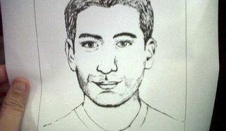 A sketch distributed Jan. 13, 2012, by Thai police show a man suspected of planning a terrorist bombing in Bangkok. (Associated Press)