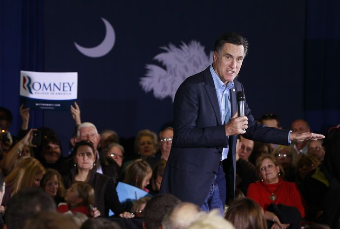 Republican presidential candidate, former Massachusetts Gov. Mitt Romney, campaigns at American Legion Post 15 in Sumter, S.C., Saturday, Jan. 14, 2012. (AP Photo/Charles Dharapak)