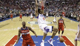 Philadelphia 76ers' Andre Iguodala (9) during an NBA basketball game against the Washington Wizards, Friday, Jan. 13, 2012, in Philadelphia. (AP Photo/Matt Slocum)