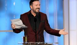Ricky Gervais hosts the Golden Globe Awards Sunday night in Los Angeles with a tamer sense of humor than last year, when many found his jokes insulting. (Associated Press)