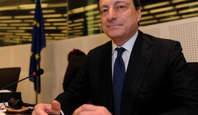 European Central Bank President Mario Draghi, reacting to S&P's downgrade Monday of the European Financial Stability Facility to AA+, says banks and other financial firms should stop basing their risk assessment solely on the opinions of rating agencies. (Associated Press)