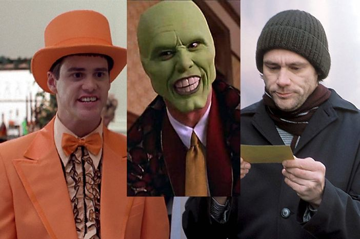 "Jim Carrey in ""Dumb and Dumber,"" ""The Mask"" and ""Eternal Sunshine of the Spotless Mind."" (Courtesy New Line Cinema and Focus Features)"