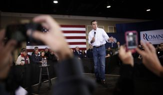 Former Massachusetts Gov. Mitt Romney campaigns for the Republican presidential nomination at the Florence Civic Center in Florence, S.C., on Tuesday, Jan. 17, 2012. (AP Photo/Charles Dharapak)