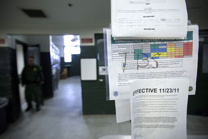 A color-coded chart at a detention center in Imperial Beach, Calif., details procedures for agents to follow in the U.S. Border Patrol's new Consequence Delivery System, part of the agency's strategy for dealing with migrants caught illegally crossing the border with Mexico. (AP Photo/Gregory Bull)