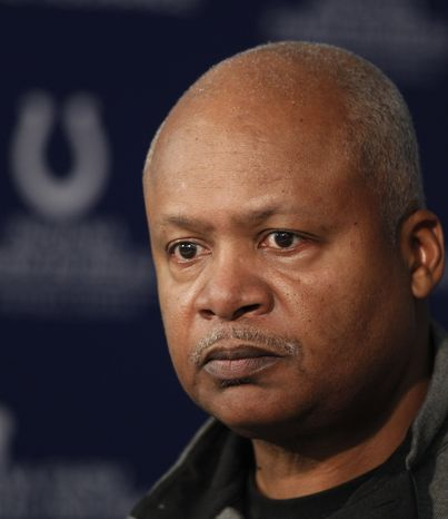 Indianapolis Colts head coach Jim Caldwell talks Jan. 2, 2012, about the season during a news conference at the NFL team's football practice facility in Indianapolis. The Colts fini