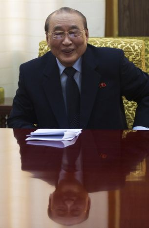 Yang Hyong-sop, vice president of North Korea's Supreme People's Assembly, meets with a delegation from the Associated Press at the Mansudae Assembly Hall in Pyongyang, North Korea, on Monday, Jan. 16, 2012. (AP Photo/David