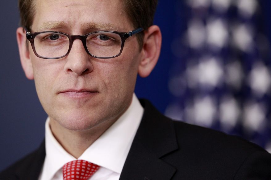 White House press secretary Jay Carney gives his daily briefing on Tuesday, Jan. 17, 2012, in the Brady Briefing Room of the White House in Washington. (AP Photo/Haraz N. Ghanbari)