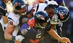 Houston sacked quarterback Joe Flacco five times last Sunday in Baltimore's 20-13 win. He'll be counted on for increased offense against New England in the AFC title game. (Associated Press)