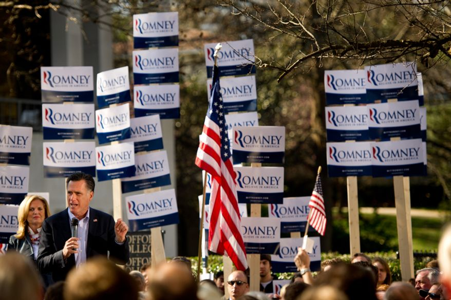 Republican presidential candidate and former Massachusetts Gov. Mitt Romney speaks Jan. 18, 2012, at a campaign rally at Wofford College in Spartanburg, S.C. (Andrew Harnik/The Washington Times)