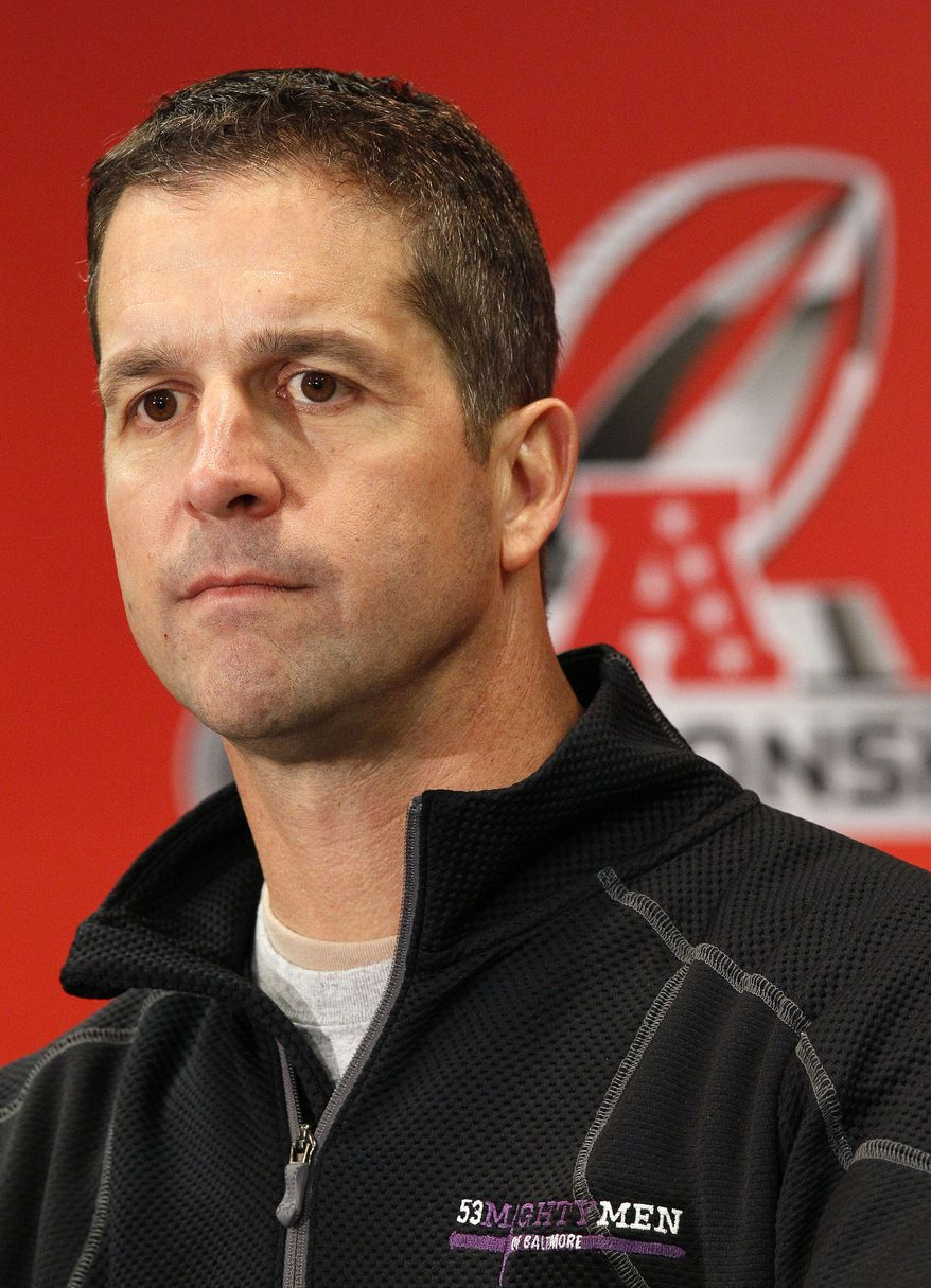Baltimore Ravens head coach John Harbaugh speaks during a news conference at the team's practice facility in Owings Mills, Md., Wednesday, Jan. 18, 2012. The Ravens face the New England Patriots in the AFC Championship football game Sunday. (AP Photo/Patrick Semansky)