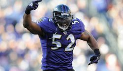 Expectations have been high for linebacker Ray Lewis and the Ravens since Baltimore routed archrival Pittsburgh 35-7 in Week 1. Lewis is one win from playing in its second Super Bowl. He was MVP of Super Bowl XXXV. (Associated Press)