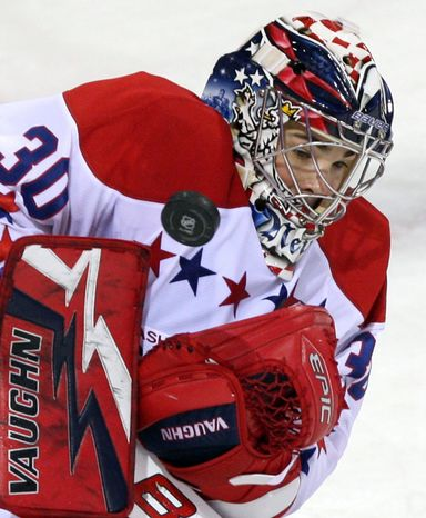 Capitals goalie Michael Neuvirth (above) blanked Montreal 3-0 on Wednesday in his first start in 23 days. Tomas Vokoun had made 10 straight starts. (Associated Press)