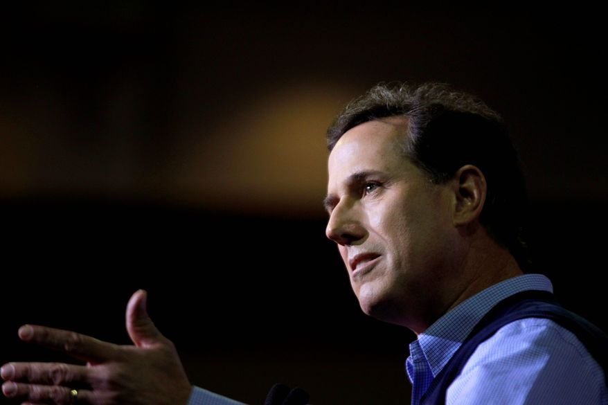 """Former Sen. Rick Santorum of Pennsylvania, a GOP hopeful, speaks to the Southern Republican Leadership Conference in Charleston, S.C., on Thursday. """"I was the author of the only bill that actually repealed a federal entitlement - welfare reform."""" (Associated Press)"""