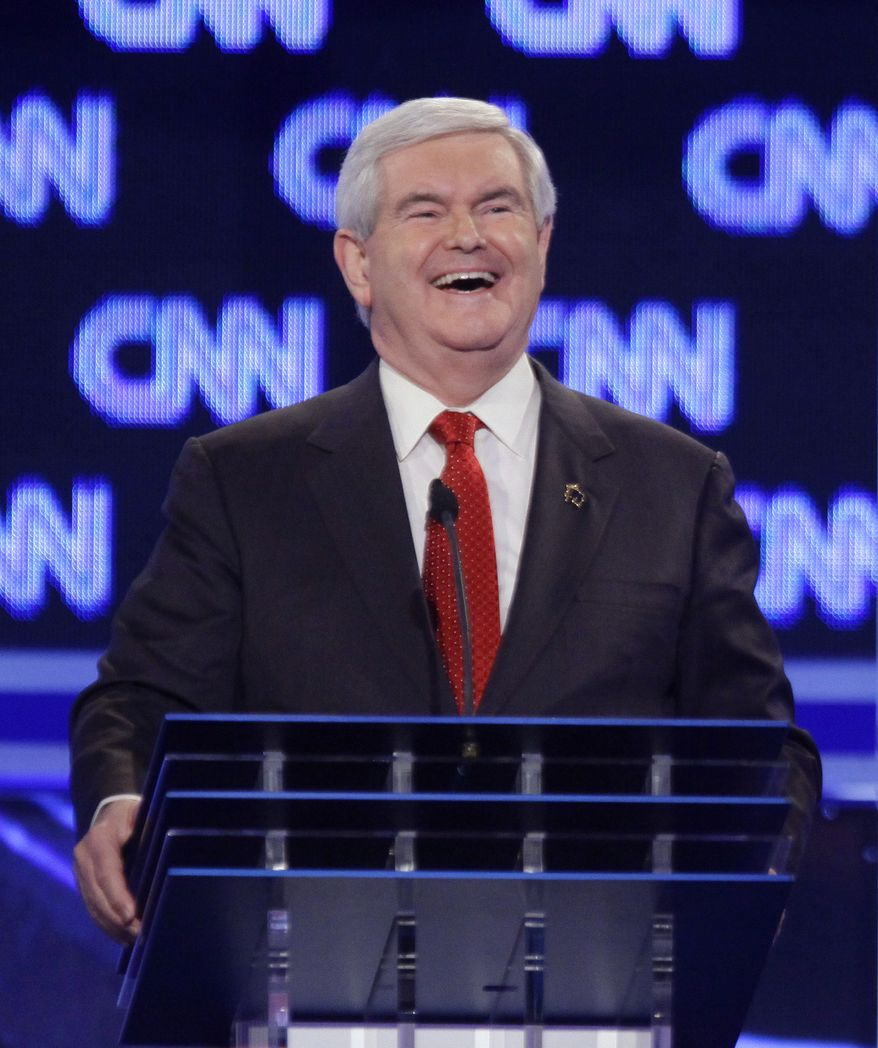 Republican presidential candidate former House Speaker Newt Gingrich participates in the Republican presidential candidate debate at the North Charleston Coliseum in Charleston, S.C., Thursday, Jan. 19, 2012. (AP Photo/David Goldman)