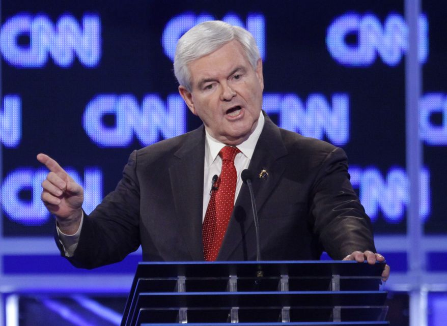 Republican presidential candidate and former House Speaker Newt Gingrich reacts Jan. 19, 2012, to a question at the start of the Republican presidential candidate debate at the North Charleston Coliseum in Charleston, S.C. (Associated Press)