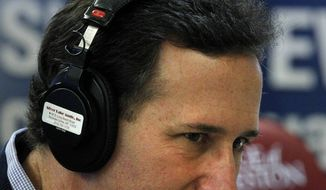 Republican presidential candidate and former Pennsylvania Sen. Rick Santorum listens to a question during a radio interview Jan. 20, 2012, at the Southern Republican Leadership Conference in Charleston, S.C. (Associated Press)