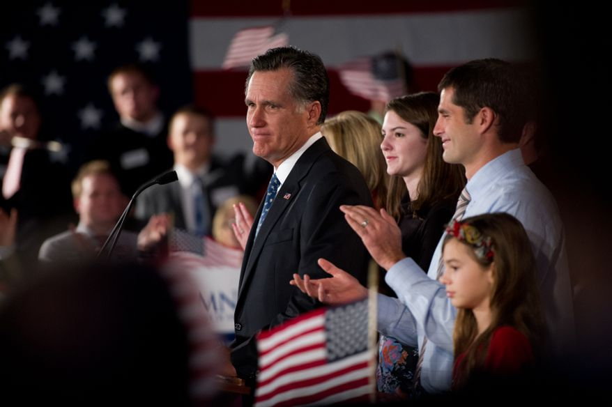 Republican presidential candidate Mitt Romney speaks to supporters after coming in second in the South Carolina primary at the South Carolina State Fairgrounds, Columbia, S.C., Saturday, Jan. 21, 2012. (Andrew Harnik/The Washington Times)