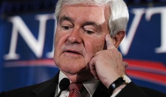 Republican presidential candidate and former House Speaker Newt Gingrich speaks during a South Carolina Republican presidential primary night rally, Saturday, Jan. 21, 2012, in Columbia, S.C. Newt Gingrich won the South Carolina primary.(AP Photo/Matt Rourke)