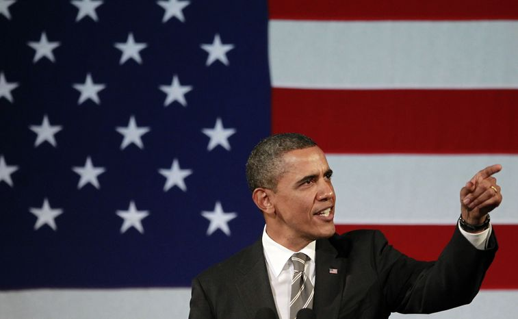 ** FILE ** President Barack Obama speaks at a campaign event, Thursday, Jan. 19, 2012, at the Apollo Theatre in the Harlem neighborhood of New York. (AP Photo/Haraz N. Ghanbari)