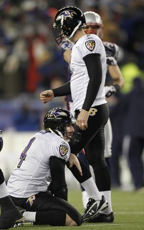 Baltimore Ravens kicker Billy Cundiff (7) walks past ball holder Sam Koch after missing a 32 yard field goal in the closing seconds of the AFC Championship game Sunday, Jan. 22, 2012, in Foxborough, Mass. The Patriots defeated the Ravens 23-20. (AP Photo/Winslow Townson)