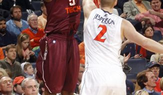 Virginia Tech guard Dorenzo Hudson had 12 points as Virginia Tech defeated Virginia, 47-45, on Sunday Jan. 22, 2012 in Charlottesville, Va. (AP Photo/Andrew Shurtleff)