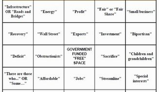"""Obstructionists"" and ""compromise""? Enjoy a game of bingo based on cliches likely to surface in President Obama's State of the Union address, courtesy of Americans for Tax Reform. (Image from Americans for Tax Reform)"