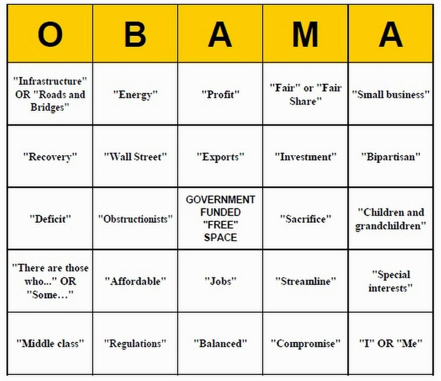 """""""Obstructionists"""" and """"compromise""""? Enjoy a game of bingo based on cliches likely to surface in President Obama's State of the Union address, courtesy of Americans for Tax Reform. (Image from Americans for Tax Reform)"""