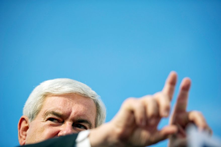 Republican presidential candidate and former House Speaker Newt Gingrich delivers a speech. (Rod Lamkey Jr/ The Washington Times)